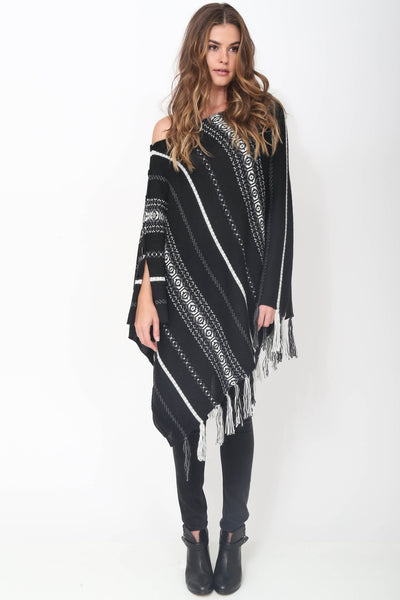 Poppy Handloomed Baby Alpaca Fringe Poncho in Midnight