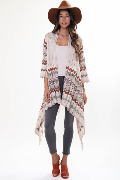 River Fringe Sweater in Satchel