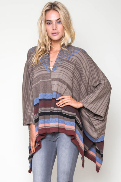 Riva Jacquard Poncho in Dry Creek