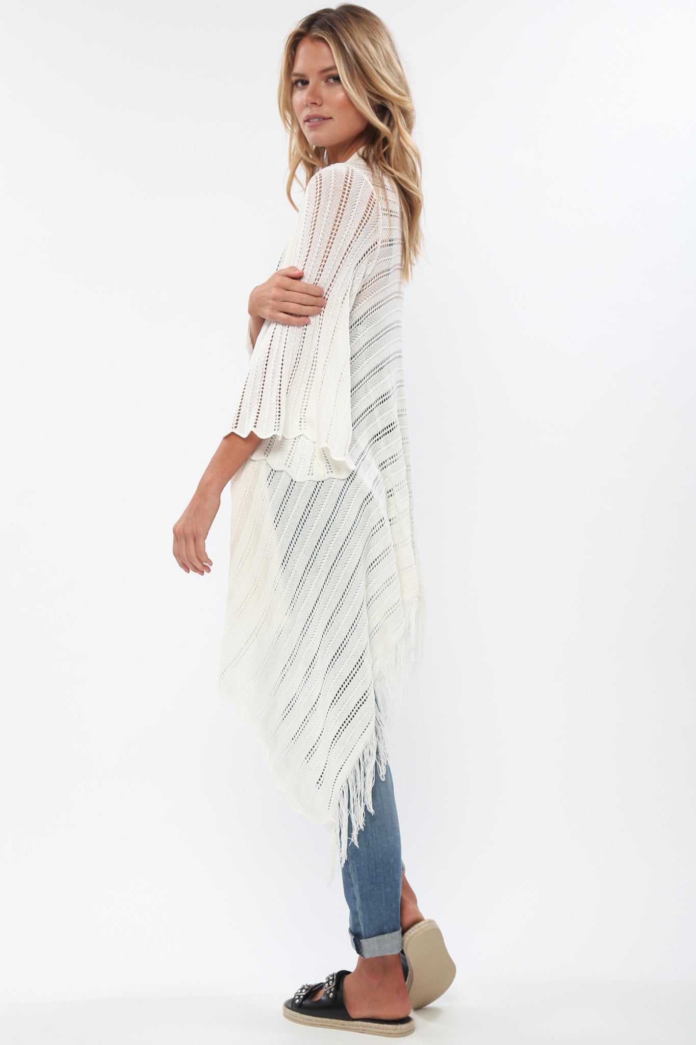 River Fringe Sweater in Natural