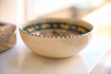 Vintage Tunisian Ceramic Small Round Bowl Teal