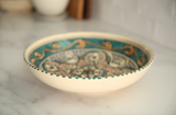 Vintage Tunisian Ceramic Large Round Bowl Teal-Gold
