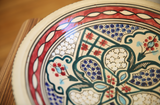 Vintage Tunisian Hanging Large Ceramic Round Bowl Red-Blue
