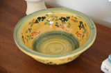 Vintage Italian Ceramic Hand Painted Large Serving Bowl Gold