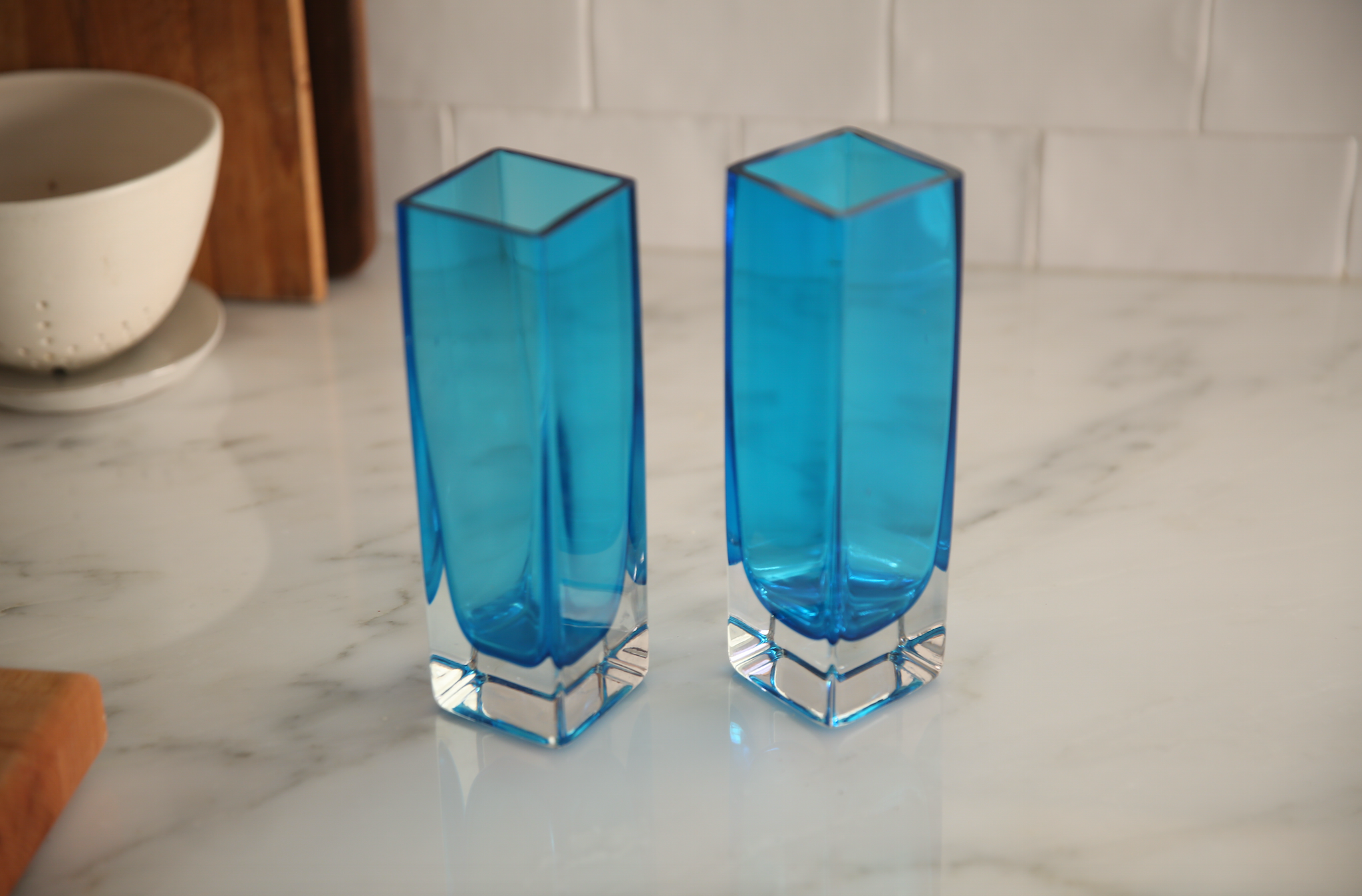 Vintage Blown Glass Tall Bud Vases - Set of 2