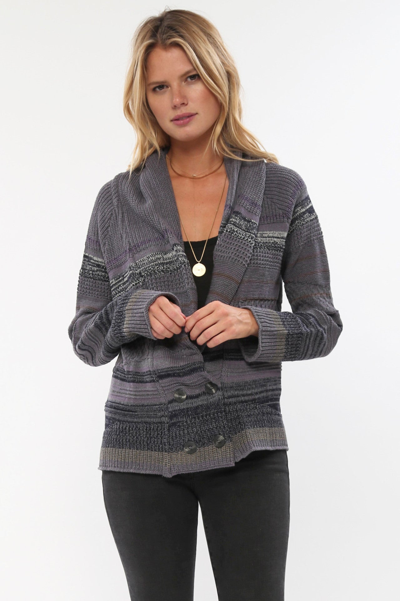 Shelton Double Breasted Cardigan in Fox Hound'LAST ONE IN EACH SIZE'