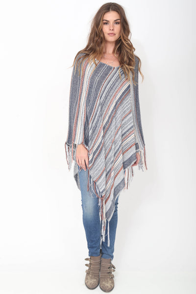 Tessa Fringe Poncho in Storm 'LAST ONE'