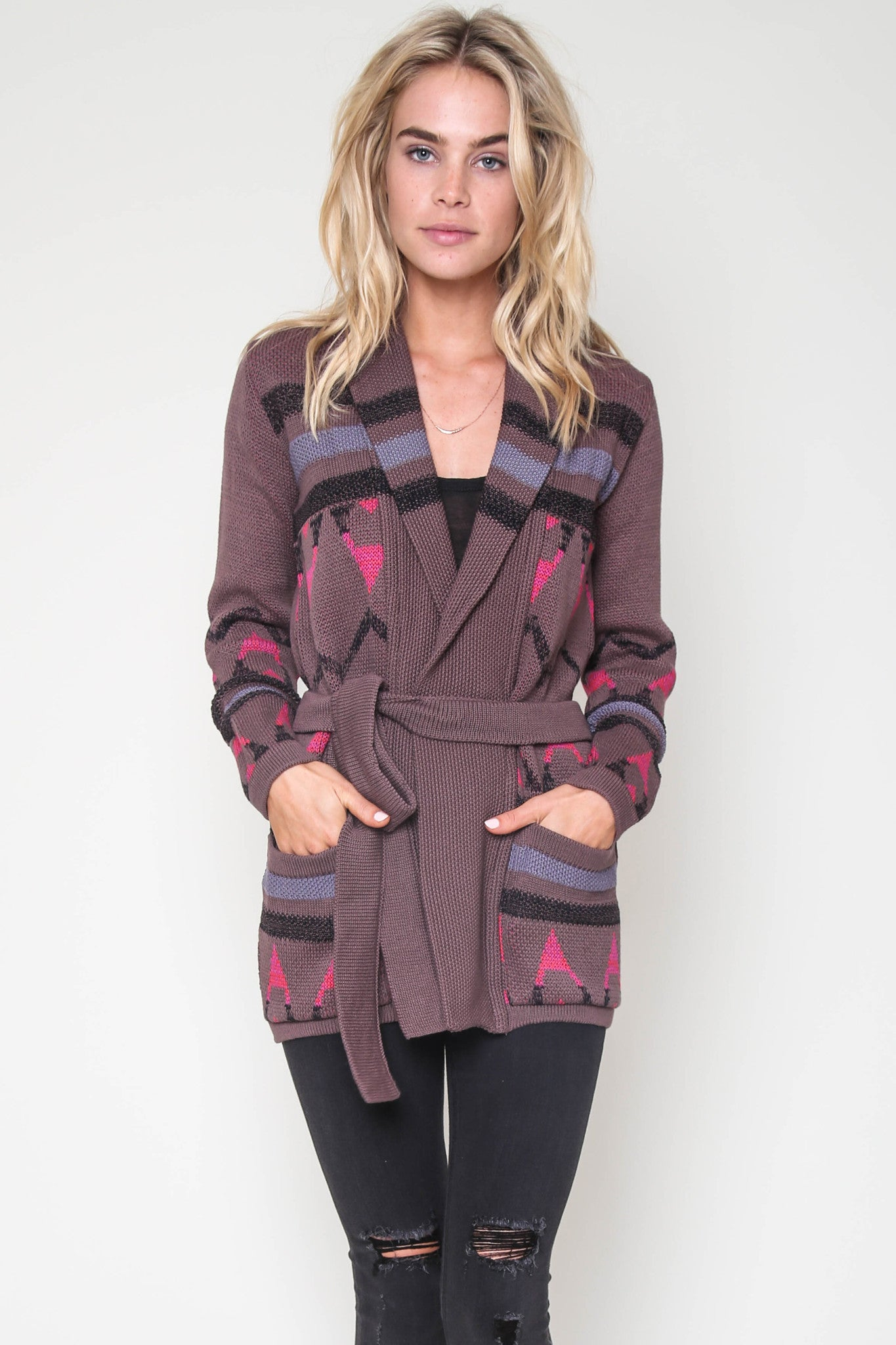 Tori Tribal Belted Cardigan in Rekindle