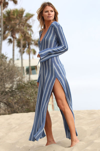 Tulum Striped Caftan w/ Lace Up Front in California Soul