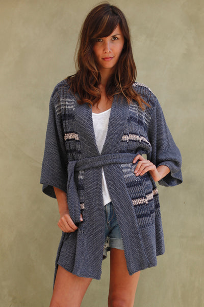 Starr Belted Kimono Cardigan in Blueberry'LAST ONE'