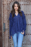 Ryley All Over Fringe Top in Voyage