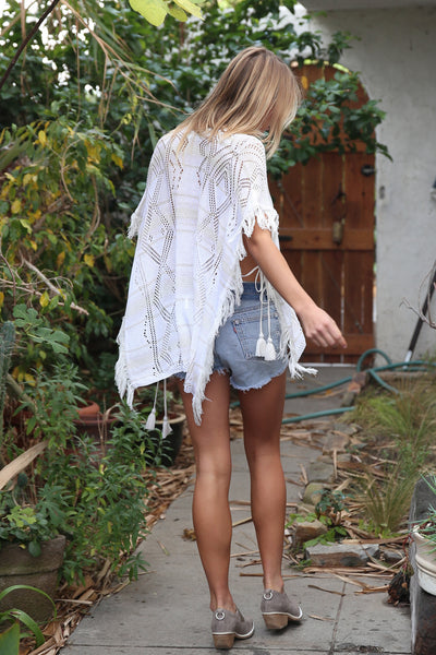 Naila Fringe Poncho Top in Bleached