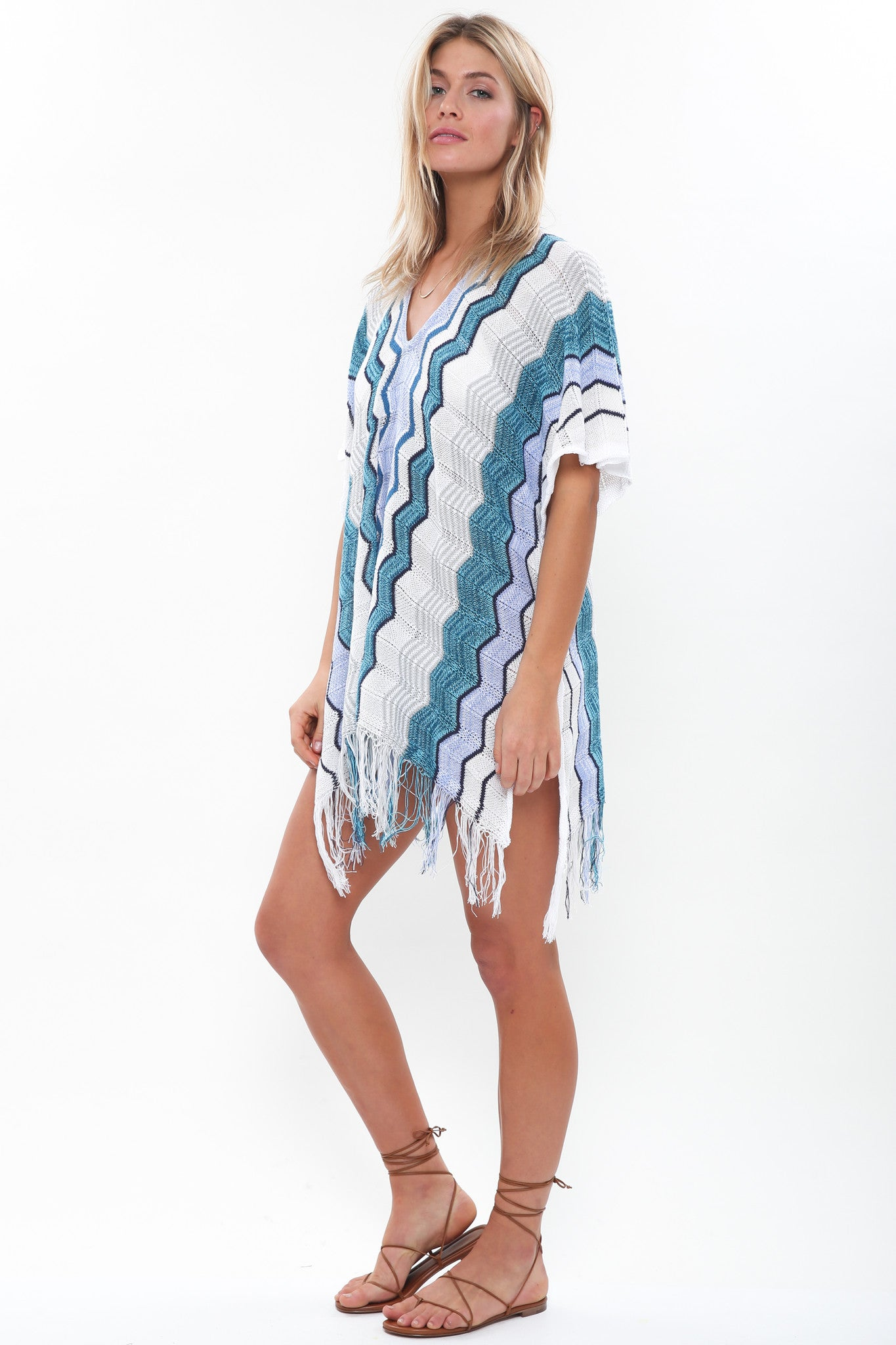 Voyager Sheer Knit Poncho in Serene Sea