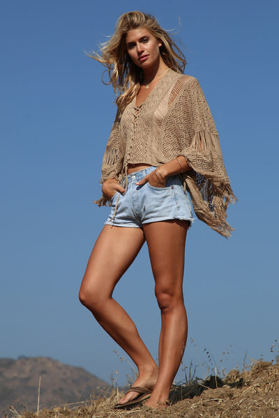 Goddis Island Gypsy Sheer Knit Top in Carmel