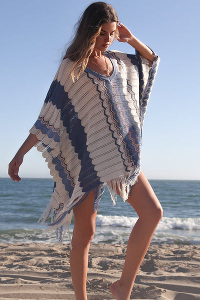 Nora Fringe Poncho in Isle of Capri