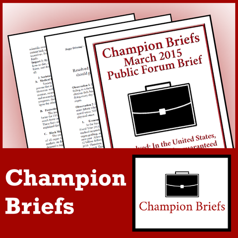 Champion Briefs 2019-20 PF Debate Subscription - SpeechGeek Market