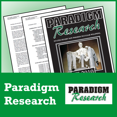 Paradigm Research Policy Debate: BLOX CX Novice Package