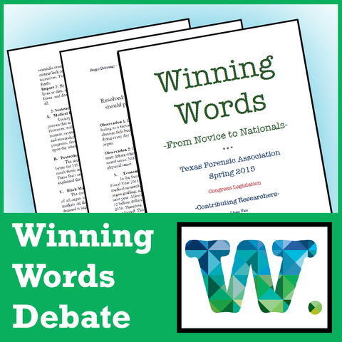Winning Words - Congressional Debate Sample - SpeechGeek Market