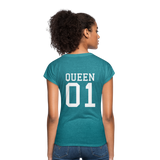 Clubs by UrbanGoat #1 Queen V-Neck T-Shirt - heather turquoise