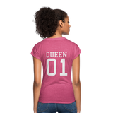 Clubs by UrbanGoat #1 Queen V-Neck T-Shirt - heather raspberry
