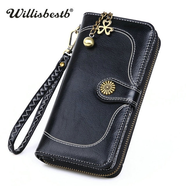 4d519dc82738 Leather Wallet Woman Purse Zipper Button Card Holder Clutch