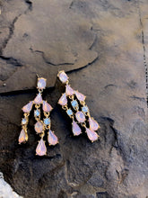 Load image into Gallery viewer, Pink Chandelier Earrings