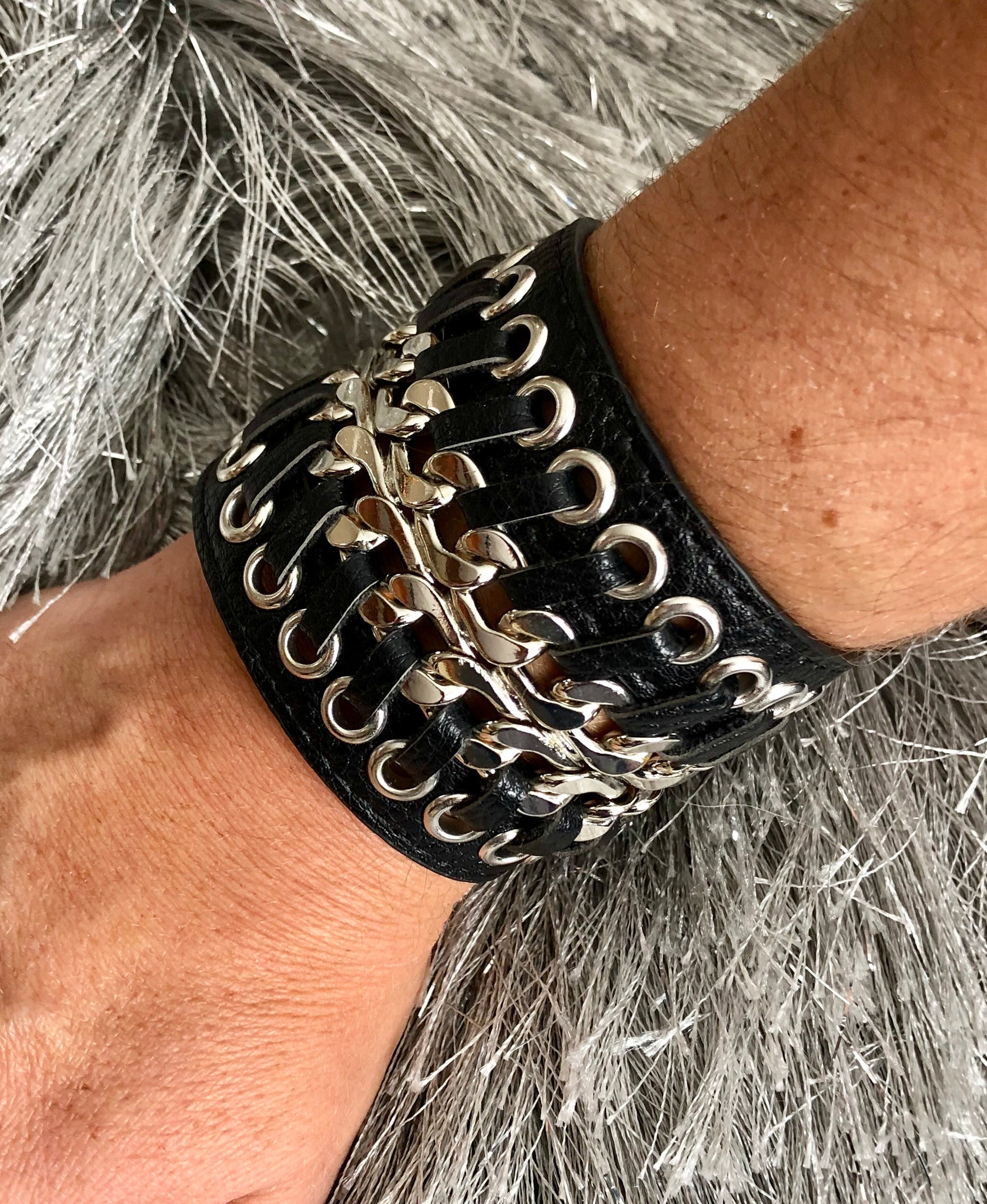Laced Leather Snap Bracelet