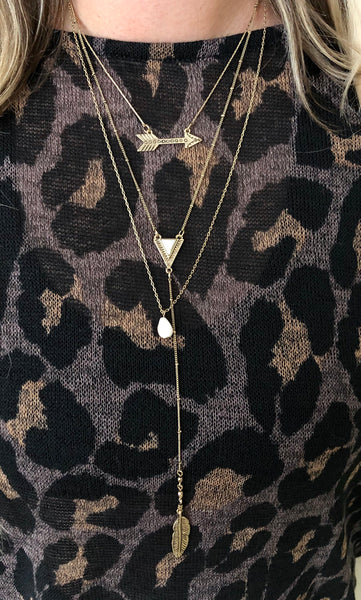 Multi Chain Arrow and Stone Necklace
