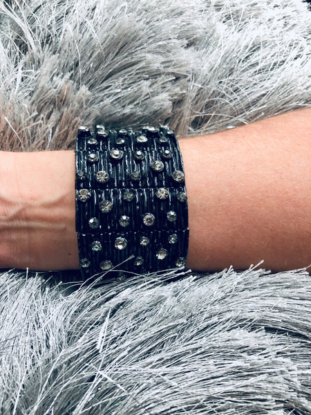 Black Metal Bracelet with Crystals