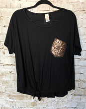 Load image into Gallery viewer, Black Top with Sequin Pocket