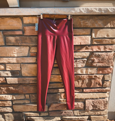 Faux Leather Leggings (Burgundy)