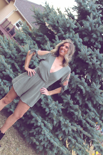 """Romping Around"" Olive Romper"