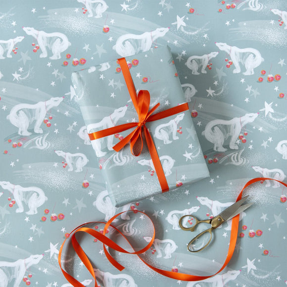 Polar Bear Christmas wrapping paper, 100% recycled paper, illustrative, loose brush illustration