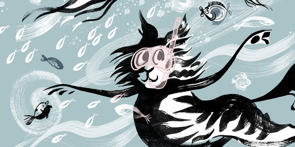Snorkel cat, dancing, swimming, cat, loose ink brush drawing, Snorkelling under the ocean