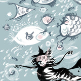 TEA TOWEL | CAT AMONGST THE FISHY | 'Fishy Tales' collection |