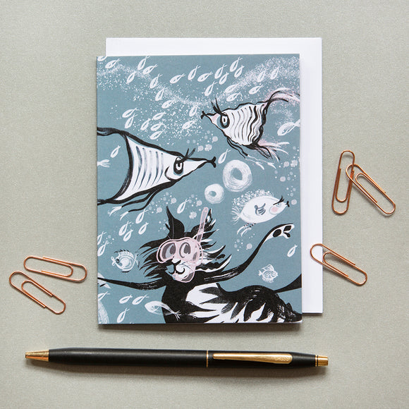 NOTECARDS – CAT AMONGST THE FISHY ('Fishy Tales' collection)