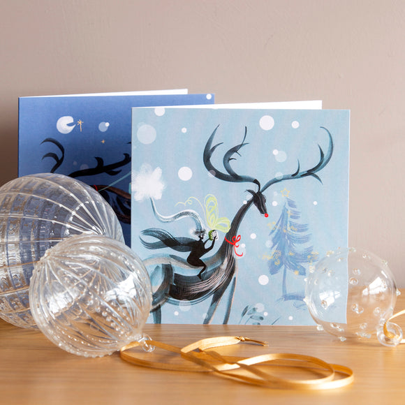 CHRISTMAS CARDS, (6) – Flying Reindeer