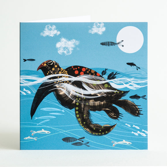 Sea Turtle swimming in deep blue ocean with fishes. Green sea turtle, loggerhead turtle