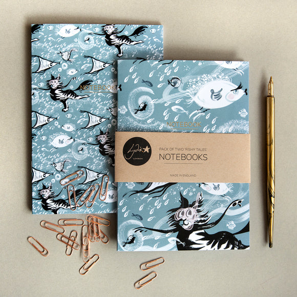 NOTEBOOKS – CAT AMONGST THE FISHY: Set of 2 ('Fishy Tales' collection)