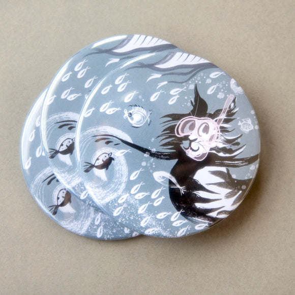 POCKET MIRROR - Snorkelling Cat