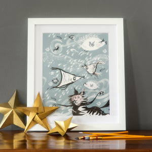 "FINE ART PRINT: 10""x12"" – CAT AMONGST THE FISHY ('Fishy Tales' collection)"