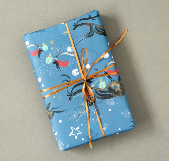 CHRISTMAS GIFT WRAP | SINGLE SHEET | FLYING REINDEER | Winter Wonder Collection