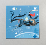 CHRISTMAS CARD | Flying Reindeer (Single card)