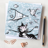 GREETINGS CARD | Snorkelling Cat | Set of 6 |
