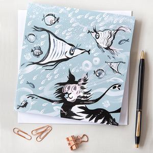 GREETINGS CARD – SNORKELLING CAT ('Fishy Tales' collection)