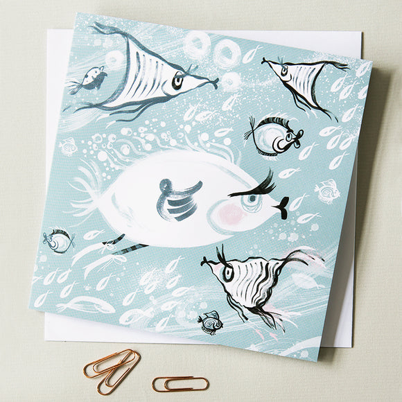 GREETINGS CARD | Snowy White Fish | Single Card |