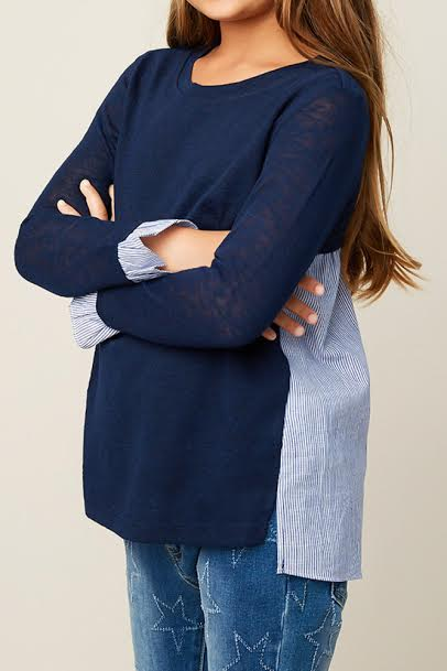 Double Panel Long Sleeve Sweater Top