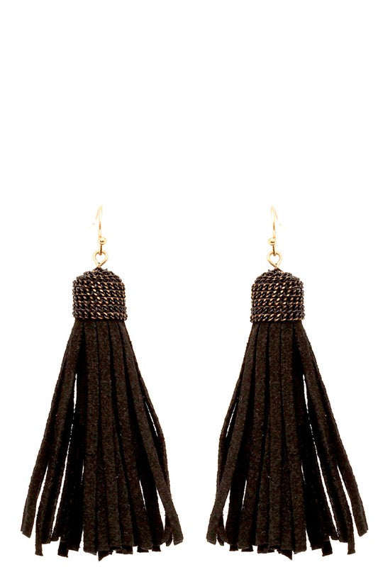 Black Faux Leather Tassel Earrings