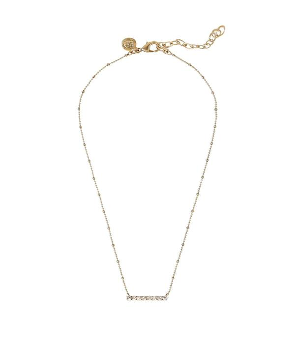 Paige Bar Necklace in Gold/Silver Crystal