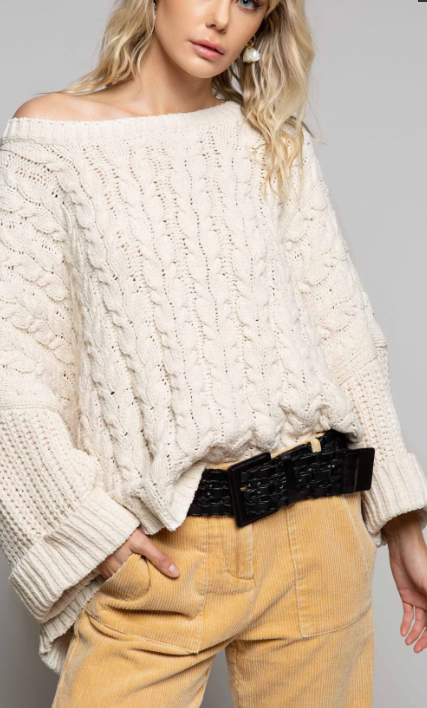 Oversized Cable Knit Sweater - Cream